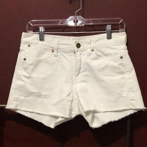 J. Crew Distressed Shorts Denim White Raw Hem 25